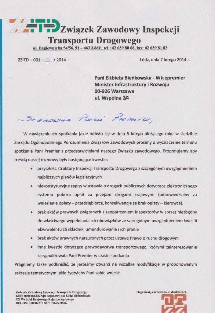 Pismo do p. Premier 001